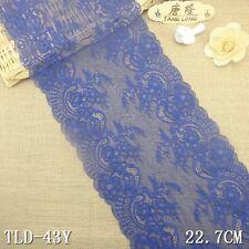 """3yd 8.9"""" blue Floral Stretch Lace Fabric DIY Sewing Wedding Bridal Dress L2904"""