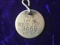 Vintage Dog tag, 1964 , North York, Ontario, Canada