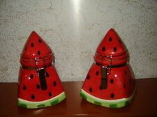 Red Green Watermelon Fruit Kitchen Canister Jar Organizing Set 2