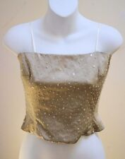 Kathryn Dianos 4 Top Beige/Taupe Silk Beaded Sequins Tank Cami/Strapless New