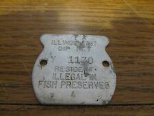 Vintage 1967 Dip Net Metal Tag/License Resident Illegal In Fish Preserves L@K