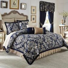 NIP Croscill Imperial Navy Floral  West Coast California King Comforter Set 4pc
