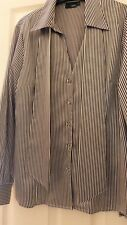BEAUTIFUL NEXT LADIES BLACK/ WHITE STRIPE SILKY WORK/FORMAL SHIRT SIZE 16 - USED