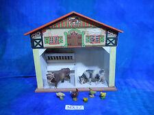 Vintage Doll House Dollhouse German Buco Litho Stable, Compo Livestock MX17