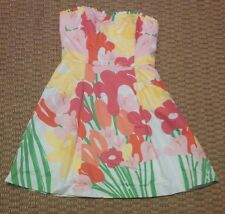 Lilly Pulitzer womens strapless lined white dress with floral print size 10