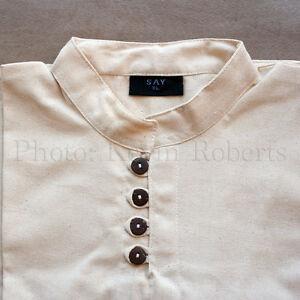 Medieval Shirt Wood Buttons Reenactors Cosplay SCA Unbleached 3 Sizes Quality