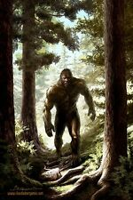 Bigfoot Painting. High Quality Print. Original Art by Claudio Bergamin. Signed.