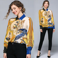 2019 Spring Summer Fall Floral Print Button Front OL Women Casual Shirt Blouse