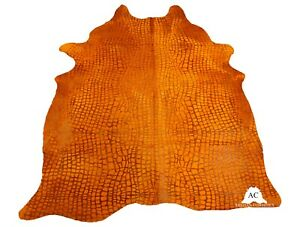 Croco Embossed Dyed Orange Cowhide Rug - (XL 7.5 x 6.5 ft )- Premium Quality Cow