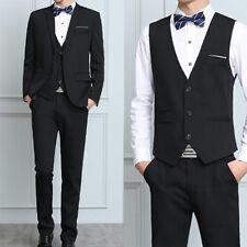 Mens Business Formal Wedding 3PCS Sets Bride Groom Blazer Coat Vest Pant Suits #