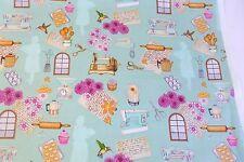Home Sweet Home Cotton Fabric  Sewing & Kitchen Motifs Green RJR Dan Morris BTY