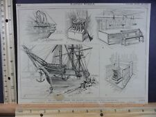 Rare Antique Original VTG 1884 British Frigate The Shannon Engraving Art Print