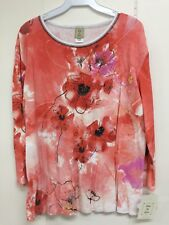 Jess and Jane Photo Flowers Orange Floral Shirt Size Extra Large XL New with Tag