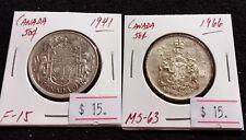 Canada 1941-65 50 cent SILVER (2 pcs) Nice High Grade Half Dollar Coin (#G99)