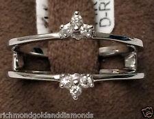 Solitaire Enhancer Insert Diamonds Ring Guard Wrap 14k White Gold Wedding Band
