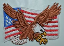 American USA Eagle Flag Patch Iron On sew United States of America Biker Badge