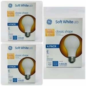 GE Soft White 40W Classic Shape LED Bulb A19 4 Bulbs New