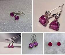 Sterling Silver Pink Sapphire Leverback / Stud Earrings *Various Styles*