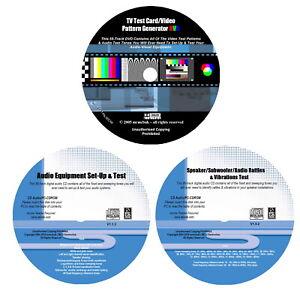 De 1 x TV Test Card DVD & 2 x Audio device configuration Test Tones CD