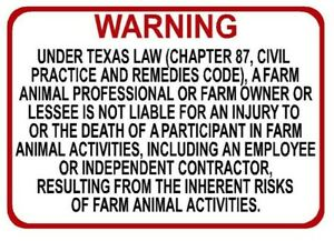 TEXAS Farm Professional Liability Sign - Chapter 87 civil practice code -