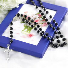 Mens Cross Pendant Black Simulated-Pearl Rosary Beads Necklace Silver tone LO