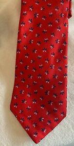 Stylish Barneys of New York 100% pure silk red mens neck tie with seedling motif
