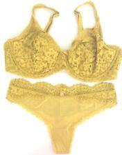 Victoria Secret Body By Unlined Gold/Deep Yellow Lace Demi Bra Panty Set 38DD/L