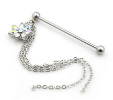 Rhinsetone Flower Chain Stainless Steel Industrial Bar Scaffold  Piercing UK