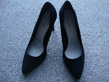 NEW LADIES HIGH HEEL COURT SHOES WEDDING PARTY FUNCTION CRUISE BLACK SUEDE  8
