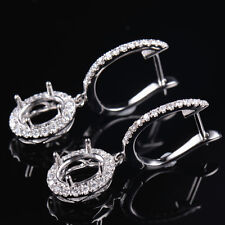 14K White Gold Natural Diamond Halo Dangle Earrings Semi Mount Oval Cut 7×5mm