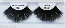 1pr #199 LONG BLACK FALSE SHOWGIRL EYELASHES/COSTUME/CROSSDRESSER/ DRAG QUEEN-00