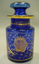Antique 1850's Early Victorian Hand Blown Cobalt Glass Barber Bottle w. Stopper