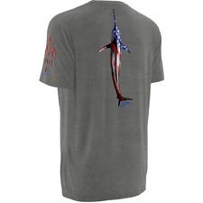 HUK K. Scott Fourth 4th of July T-Shirt red white blue marlin shirt mens M grey