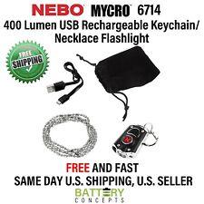 NEBO 6714 MYCRO Keychain & Necklace USB 400 Lumen Rechargeable Flashlight BLACK