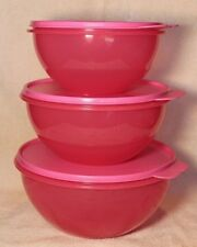Tupperware CLASSIC WONDERLIER BOWLS Pink Punch Set of 3 ~ 6, 8.75 & 12 Cup ~ NEW