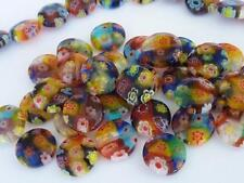 35 pce Vibrant Flat Round Millefiori Glass Beads 10mm x 4mm