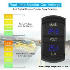 Dual Battery Voltmeter Voltage Gauge Blue LED Digital Battery Monitor Socket
