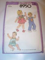 UNCUT SIMPLICITY Sewing Pattern 8950 TODDLER ROMPER JUMPER GIRLS BOYS SIZE 1