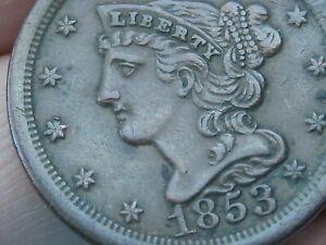 1853 Braided Hair Half Cent- XF Details