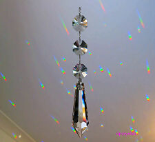 Sun Catcher Hanging Wand Crystal with 3 Swarovski octagons Rainbow Prism