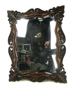 "Large Wooden Wall Hanging  Mirror Ornate Vanity Dresser Hallway 34"" x 26"""""