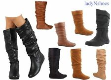 NEW Women's  Faux Suede Leather Flat Heel Mid-Calf Knee High Boots Size 6 - 11