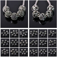 New 5/20pcs 10/12mm Big Hole Alloy Loose Spacer Beads European Bracelet Findings