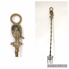More details for vintage brass toasting fork handle depicting:  coracle man boat