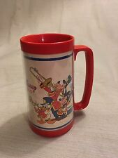 1982 Walt Disney Home Video Thermo-Serv Plastic Mug Stein Mickey Mouse Goofy
