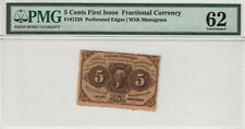 5 CENT FIRST ISSUE FRACTIONAL POSTAL CURRENCY FR.1228 PMG CHOICE UNC 62 (027)