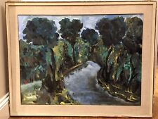 Lrg Italian Mid Century Oil On Canvas Painting Signed Vintage Antique Cezanne