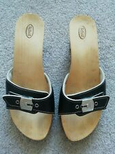 Dr Scholl black leather buckled Pescura low heel wooden clogs sandals size 5 38