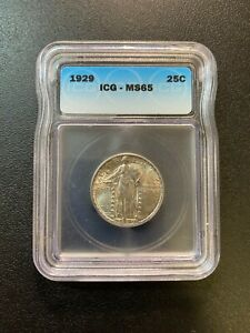 1929 STANDING LIBERTY QUARTER ICG MS-65 - UNCIRCULATED - LUSTER - CERTIFIED -25C