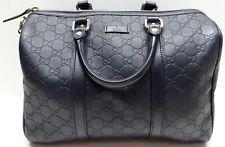 Gucci 265697 Guccissima Leather Boston Handbag Dark Blue
